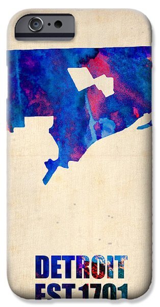 World Map Poster Digital Art iPhone Cases - Detroit Watercolor Map iPhone Case by Naxart Studio