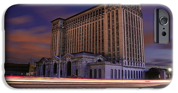 Lights Digital iPhone Cases - Detroits Abandoned Michigan Central Station iPhone Case by Gordon Dean II