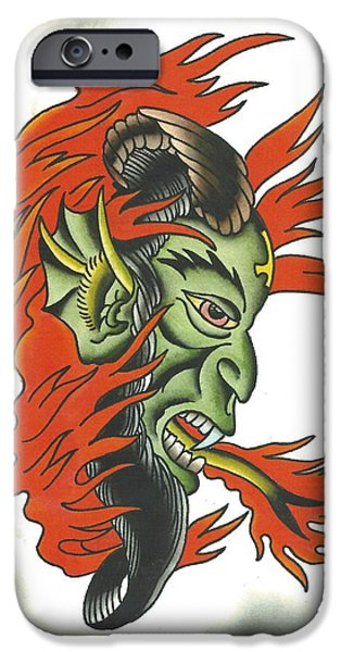 Tattoo Flash iPhone Cases - Devil and Fire iPhone Case by Scott Bohrer