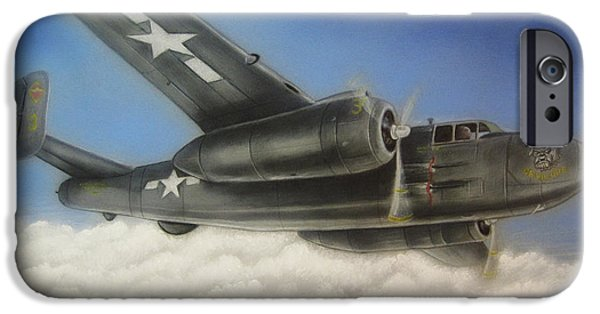 Airbrush Drawings iPhone Cases - Devil Dog airplane in flight iPhone Case by Jonathan Anderson