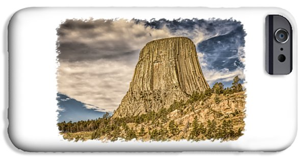 Abstract Digital Photographs iPhone Cases - Devils Tower Inspiration 3 iPhone Case by John Bailey