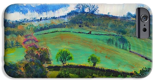 A Summer Evening Landscape Paintings iPhone Cases - Devon Landscape Painting iPhone Case by Mike Jory