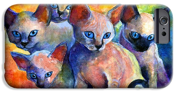 Cat Drawings iPhone Cases - Devon Rex kitten cats iPhone Case by Svetlana Novikova