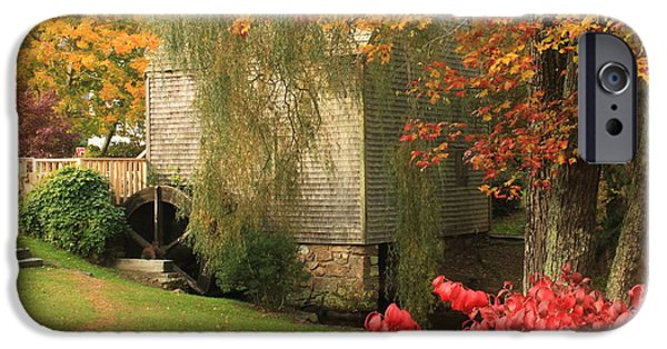 Grist Mill iPhone Cases - Dexter Grist Mill Autumn Cape Cod iPhone Case by John Burk