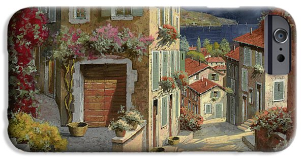 Seascape Paintings iPhone Cases - Di Notte Al Mare iPhone Case by Guido Borelli
