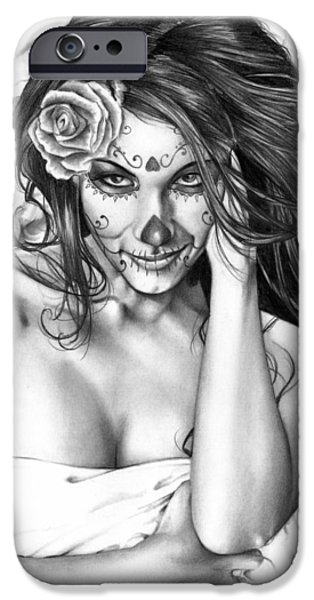Portrait Paintings iPhone Cases - Dia De Los Muertos 2 iPhone Case by Pete Tapang