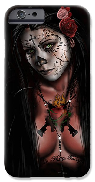 Black Portrait Drawings iPhone Cases - Dia De Los Muertos 3 iPhone Case by Pete Tapang