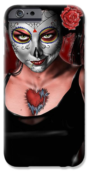 Pete iPhone Cases - Dia de los muertos The Vapors iPhone Case by Pete Tapang