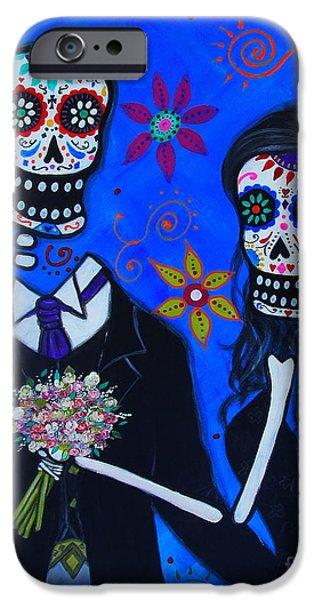Bestfriend iPhone Cases - Dia De Los Muertos Wedding Couple iPhone Case by Pristine Cartera Turkus
