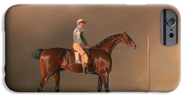 Horse Racing iPhone Cases - Diamond - With Dennis Fitzpatrick Up iPhone Case by Benjamin Marshall