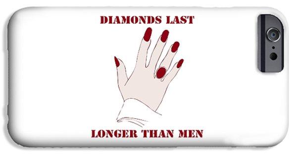 Ego iPhone Cases - Diamonds Last Longer Than Men iPhone Case by Frank Tschakert