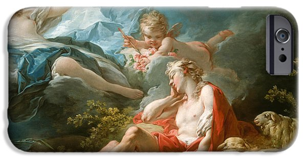 Night Angel Paintings iPhone Cases - Diana and Endymion iPhone Case by Jean-Honore Fragonard