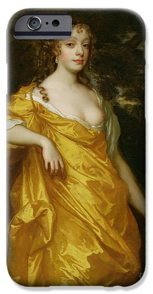 Gold Roses iPhone Cases - Diana Kirke-Later Countess of Oxford iPhone Case by Sir Peter Lely