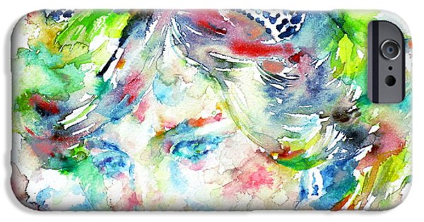 Princess Diana iPhone Cases - DIANA - PRINCESS of WALES - watercolor portrait iPhone Case by Fabrizio Cassetta