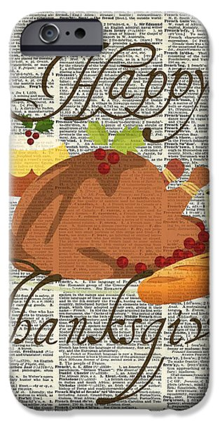 Thanksgiving Digital iPhone Cases - Dictionary Art - Thanksgiving Turkey iPhone Case by Jacob Kuch