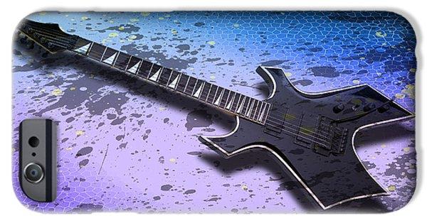 Strings Digital iPhone Cases - Digital-Art E-Guitar II iPhone Case by Melanie Viola