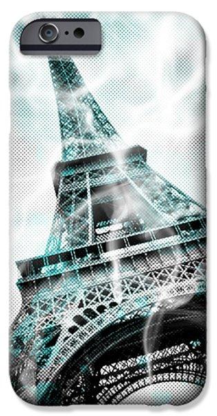 Abstract Sights Digital iPhone Cases - Digital-Art EIFFEL TOWER PARIS iPhone Case by Melanie Viola