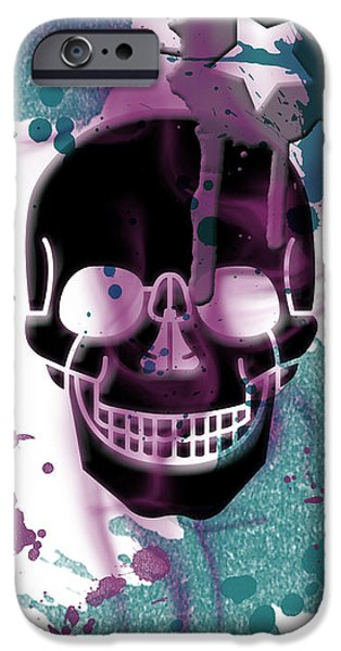 Abstract Digital Mixed Media iPhone Cases - Digital-Art Skull and Splashes Panoramic iPhone Case by Melanie Viola