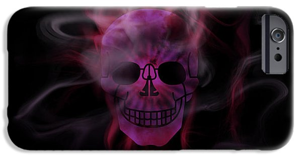 Abstract Digital Mixed Media iPhone Cases - Digital-Art Smoke and Pink Skull Panoramic iPhone Case by Melanie Viola