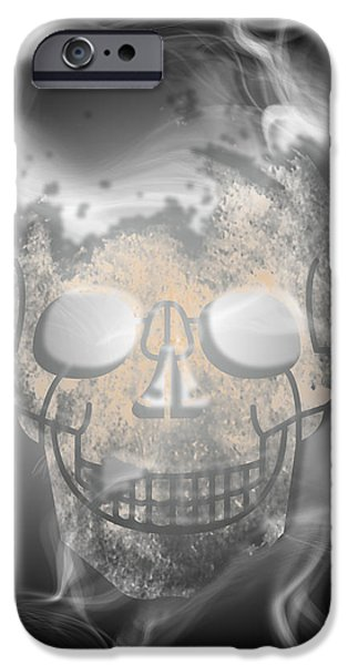Abstract Movement Mixed Media iPhone Cases - Digital-Art Smoke and Skull iPhone Case by Melanie Viola
