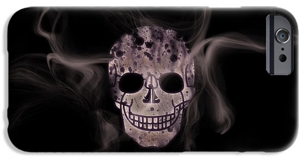 Abstract Movement Mixed Media iPhone Cases - Digital-Art Smoke and Skull Panoramic iPhone Case by Melanie Viola