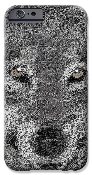 Gray Hair iPhone Cases - Digital Scribble - Wolf iPhone Case by Nathan Shegrud