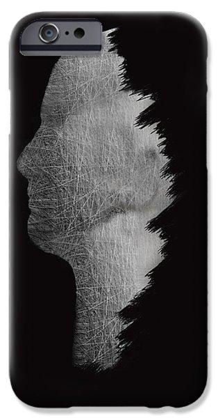 Concept Digital Art iPhone Cases - Digital Sculpture In Black iPhone Case by Sheela Ajith