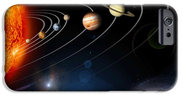 Terrestrial Sphere iPhone Cases - Digitally Generated Image Of Our Solar iPhone Case by Stocktrek Images