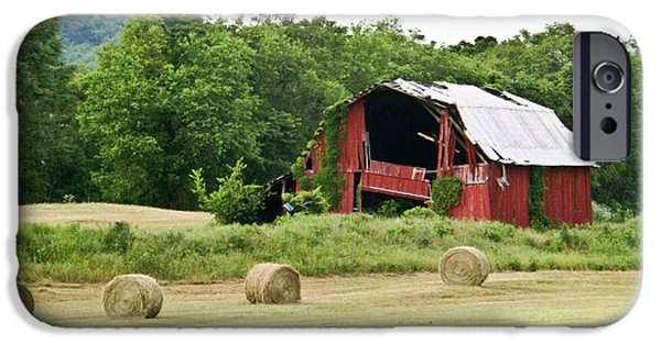 Tennessee Hay Bales iPhone Cases - Dilapidated Old Red Barn iPhone Case by Douglas Barnett