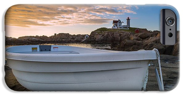 Nubble Lighthouse iPhone Cases - Dinghy at Nubble Lighthouse iPhone Case by Jerry Fornarotto
