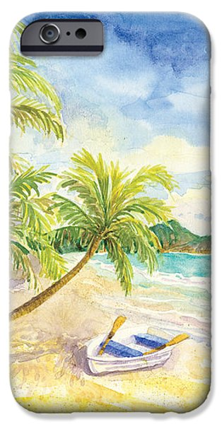 Summer iPhone Cases - Dinghy on the Tropical Beach with Palm Trees iPhone Case by Audrey Jeanne Roberts