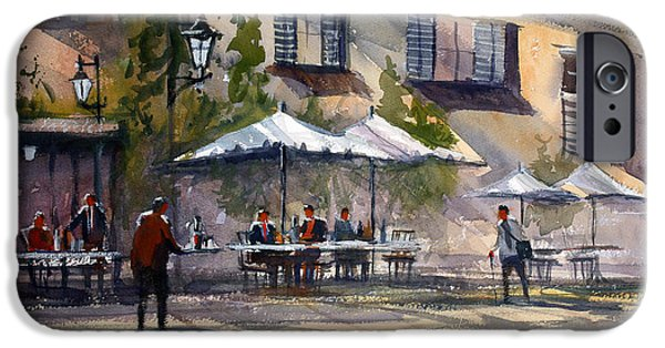 City Scene iPhone Cases - Dining Alfresco iPhone Case by Ryan Radke