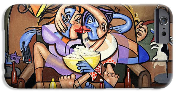 Cubists iPhone Cases - Dinner And a Movie iPhone Case by Anthony Falbo