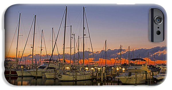 Sailboat Ocean iPhone Cases - Dinner Key Marina 2539 iPhone Case by Steve Lipson