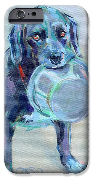 Black Dog iPhone Cases - Dinnertime Dutchess iPhone Case by Kimberly Santini