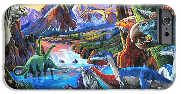 Nadi Spencer iPhone Cases - Dinosaur iPhone Case by Nadi Spencer