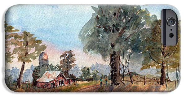 Loose Style Drawings iPhone Cases - Dirt Road Farm - Watercolor iPhone Case by Barry Jones