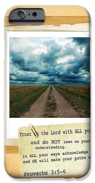 Bible Photographs iPhone Cases - Dirt Road with Scripture Verse iPhone Case by Jill Battaglia