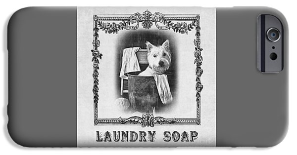 Dirty iPhone Cases - Dirty Dog Laundry Soap iPhone Case by Edward Fielding