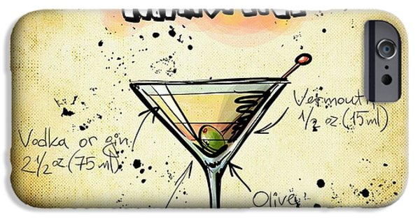 Dirty Drawings iPhone Cases - Dirty Martini Recipe iPhone Case by Alexas Fotos