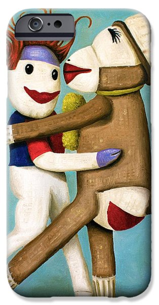 Socks iPhone Cases - Dirty Socks Dancing The Tango iPhone Case by Leah Saulnier The Painting Maniac