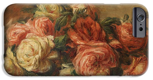 Renoir iPhone Cases - Discarded Roses  iPhone Case by Pierre Auguste Renoir