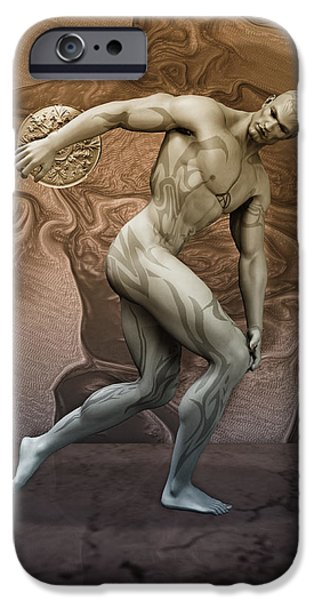 Muscular Digital iPhone Cases - Discobolus tattooed iPhone Case by Joaquin Abella