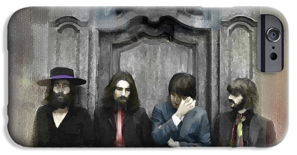 The Main iPhone Cases - Discontent IV The Beatles iPhone Case by Iconic Images Art Gallery David Pucciarelli