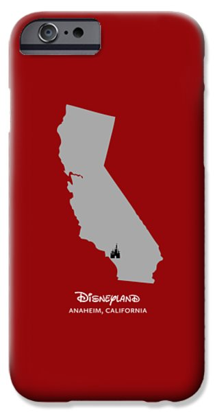 Earth Map Digital iPhone Cases - Disneyland iPhone Case by Nancy Ingersoll