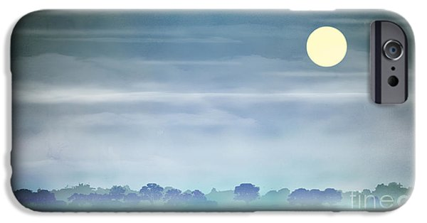 Abstract Digital iPhone Cases - Distant Blue Haze iPhone Case by Bedros Awak