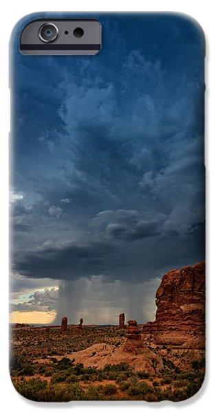 Storm iPhone Cases - Distant Desert Storm iPhone Case by Rick Berk