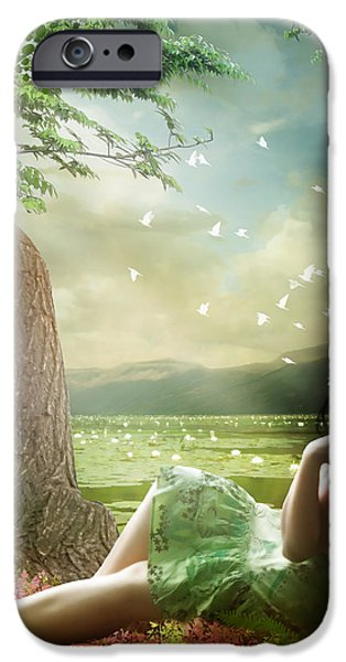 Sitting Digital iPhone Cases - Distant Horizons iPhone Case by Karen K