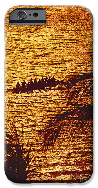 Canoe iPhone Cases - Distant View Of Outrigger iPhone Case by Ron Dahlquist - Printscapes