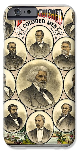 Frederick Douglass iPhone Cases - Distinguished Colored Men   1883 iPhone Case by Daniel Hagerman